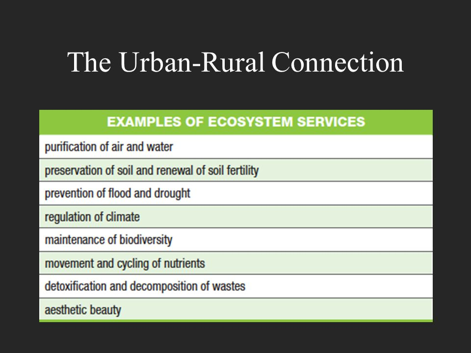 Supporting Urban Areas The area of rural land needed to support one person depends on many factors, such as the climate, the standard of living, and how efficiently resources are used.