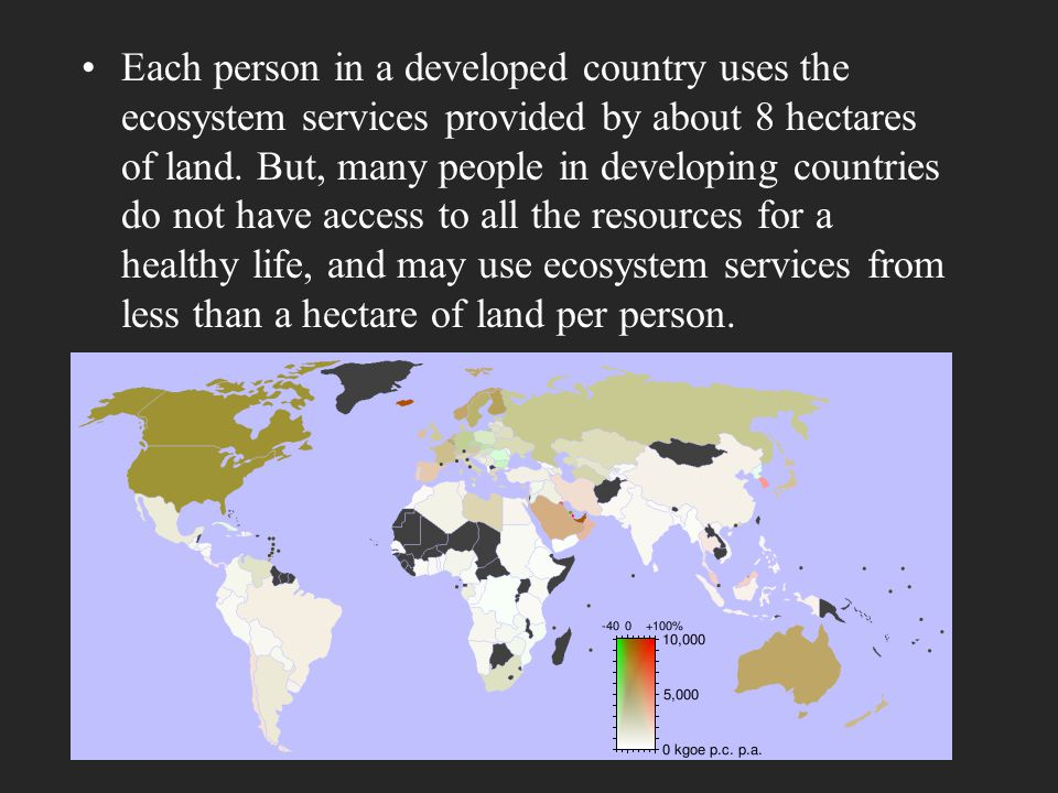 Each person in a developed country uses the ecosystem services provided by about 8 hectares of land. But, many people in developing countries do not h