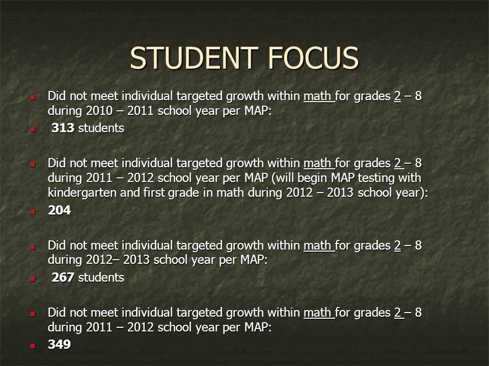 STUDENT FOCUS Did not meet individual targeted growth within math for grades 2 – 8 during 2010 – 2011 school year per MAP: Did not meet individual targeted growth within math for grades 2 – 8 during 2010 – 2011 school year per MAP: 313 students 313 students Did not meet individual targeted growth within math for grades 2 – 8 during 2011 – 2012 school year per MAP (will begin MAP testing with kindergarten and first grade in math during 2012 – 2013 school year): Did not meet individual targeted growth within math for grades 2 – 8 during 2011 – 2012 school year per MAP (will begin MAP testing with kindergarten and first grade in math during 2012 – 2013 school year): 204 204 Did not meet individual targeted growth within math for grades 2 – 8 during 2012– 2013 school year per MAP: Did not meet individual targeted growth within math for grades 2 – 8 during 2012– 2013 school year per MAP: 267 students 267 students Did not meet individual targeted growth within math for grades 2 – 8 during 2011 – 2012 school year per MAP: Did not meet individual targeted growth within math for grades 2 – 8 during 2011 – 2012 school year per MAP: 349 349