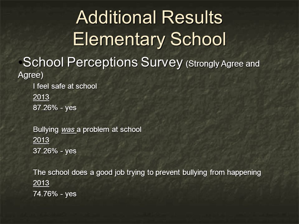 Additional Results Elementary School School Perceptions Survey (Strongly Agree and Agree) School Perceptions Survey (Strongly Agree and Agree) I feel safe at school 2013 87.26% - yes Bullying was a problem at school 2013 37.26% - yes The school does a good job trying to prevent bullying from happening 2013 74.76% - yes