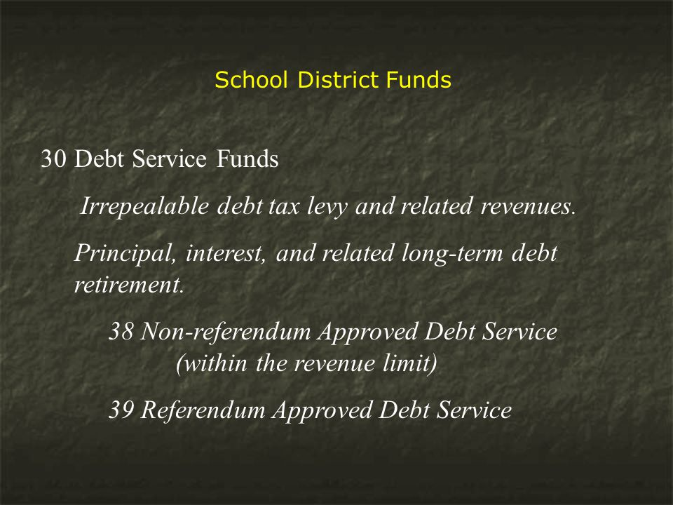 School District Funds 30Debt Service Funds Irrepealable debt tax levy and related revenues.