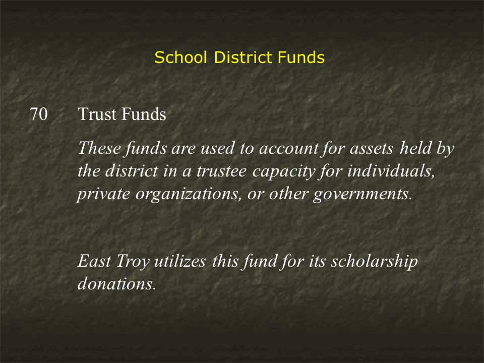 School District Funds 70 Trust Funds These funds are used to account for assets held by the district in a trustee capacity for individuals, private organizations, or other governments.