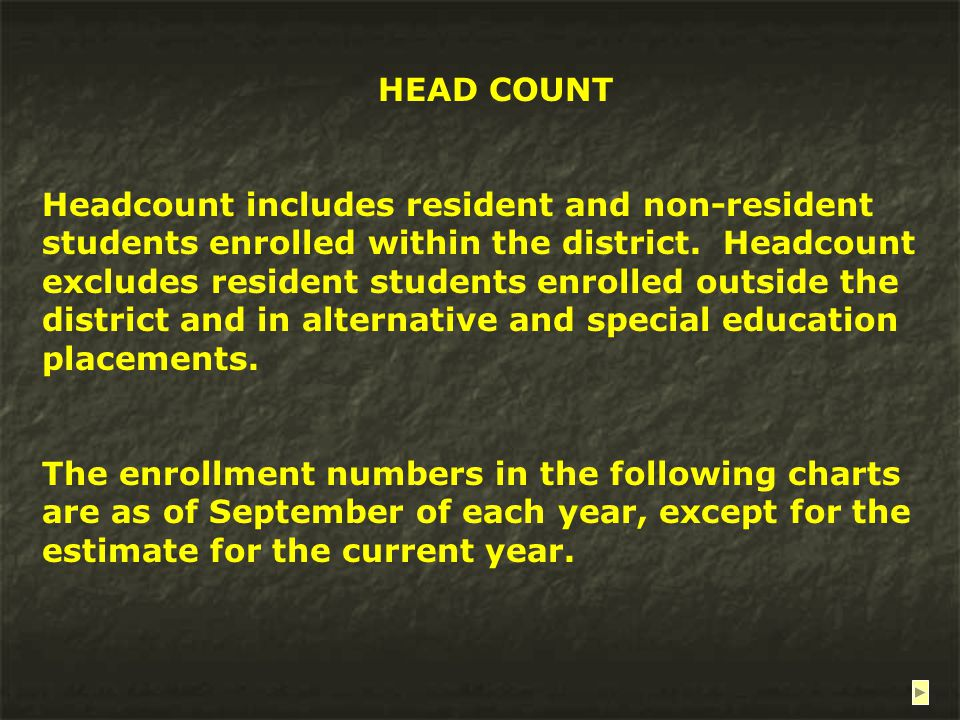 HEAD COUNT Headcount includes resident and non-resident students enrolled within the district.