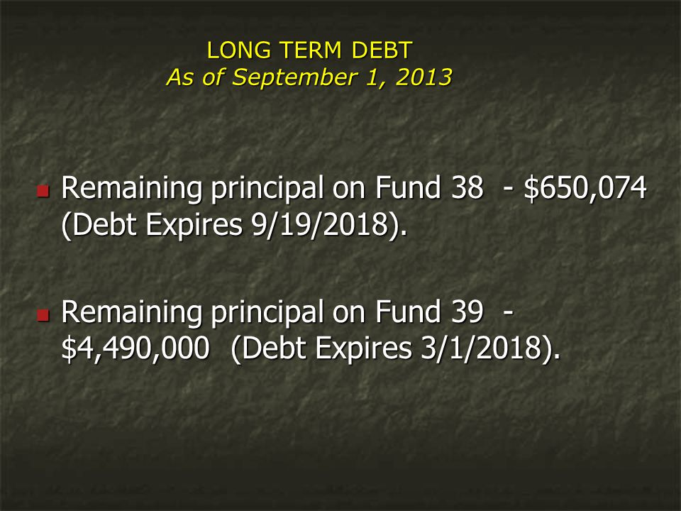 LONG TERM DEBT As of September 1, 2013 Remaining principal on Fund 38 - $650,074 (Debt Expires 9/19/2018).