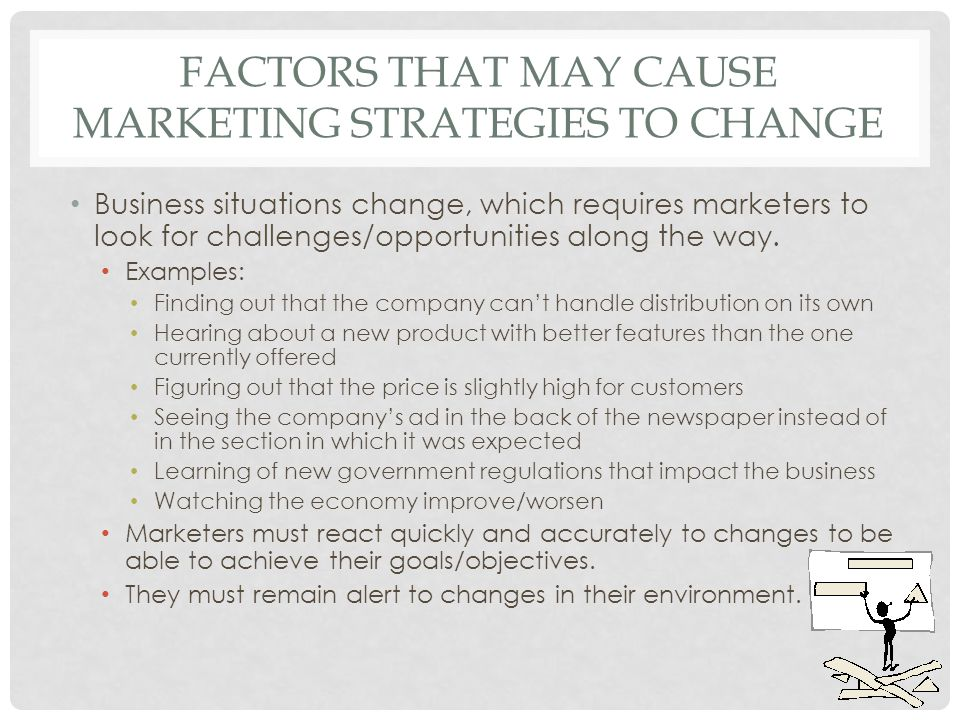 FACTORS THAT MAY CAUSE MARKETING STRATEGIES TO CHANGE Business situations change, which requires marketers to look for challenges/opportunities along