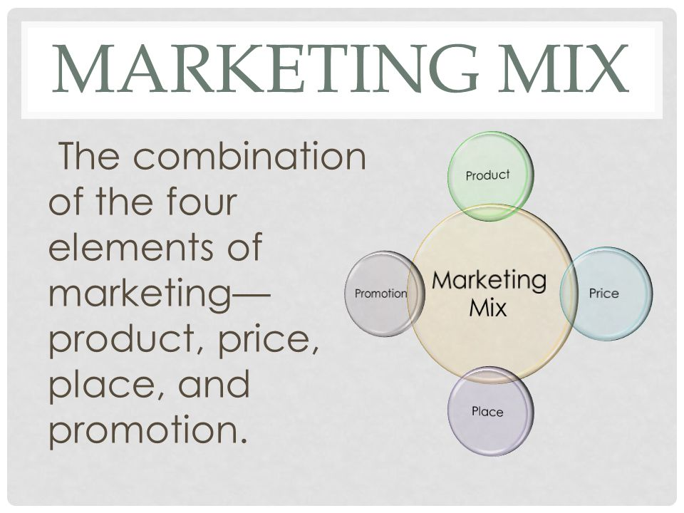 MARKETING MIX The combination of the four elements of marketing— product, price, place, and promotion.