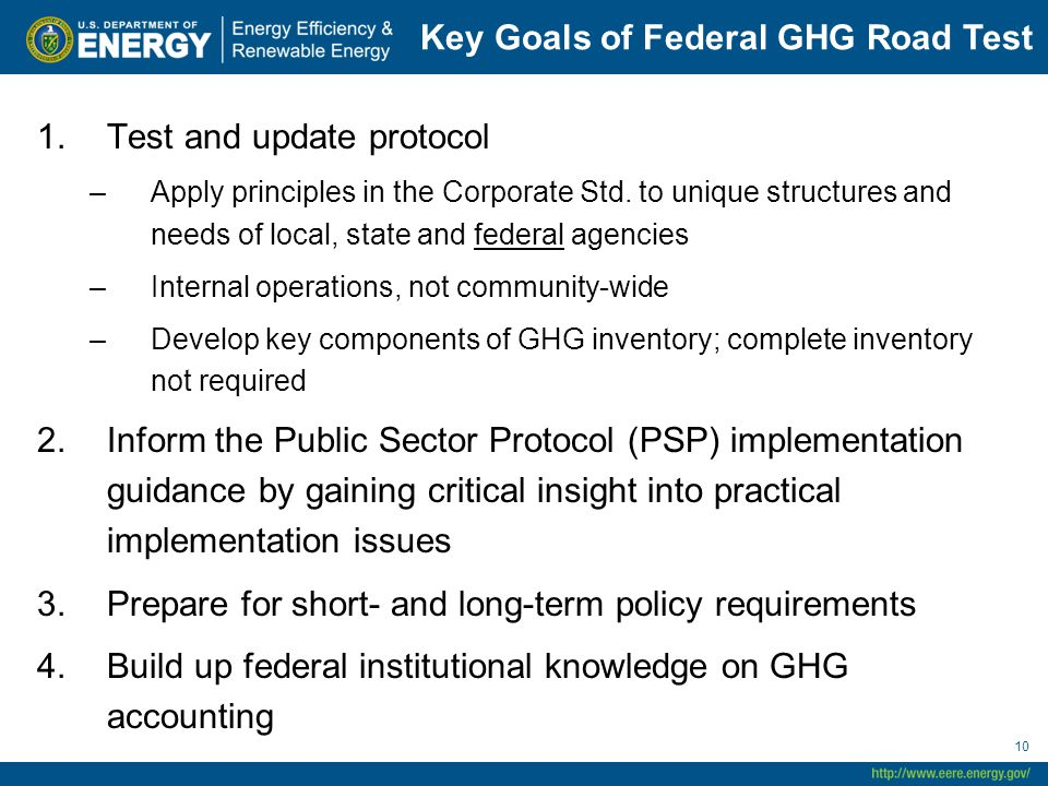 Key Goals of Federal GHG Road Test 1.Test and update protocol –Apply principles in the Corporate Std. to unique structures and needs of local, state a