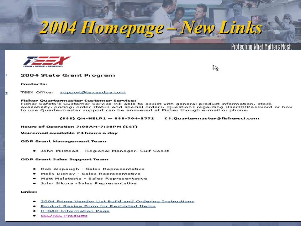 2004 Homepage – New Links