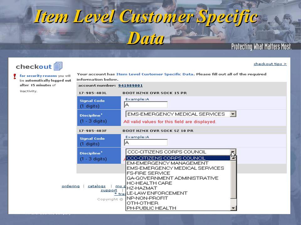 Item Level Customer Specific Data