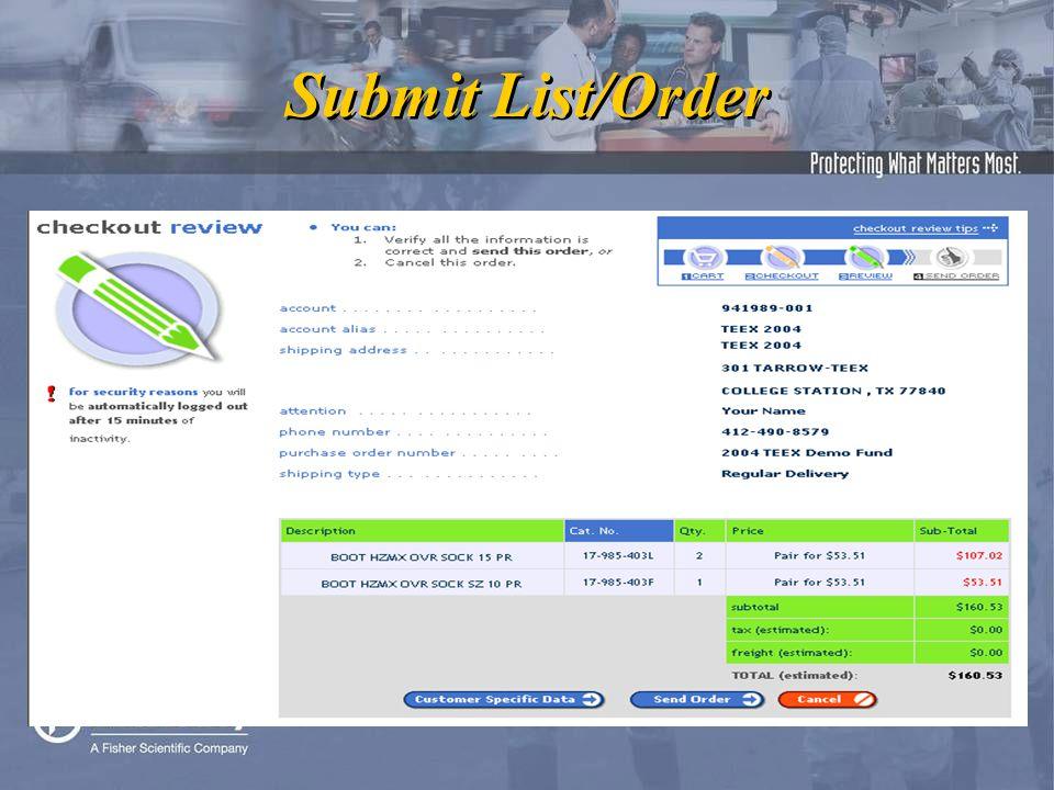 Submit List/Order