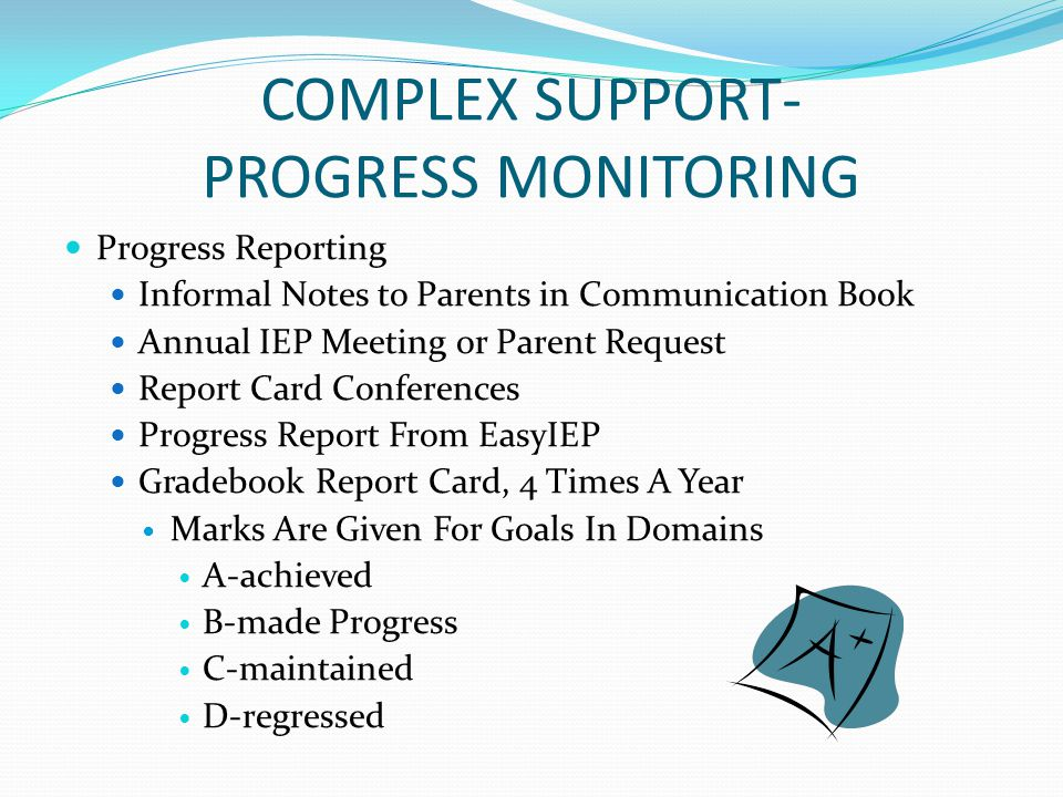 COMPLEX SUPPORT- PROGRESS MONITORING Progress Reporting Informal Notes to Parents in Communication Book Annual IEP Meeting or Parent Request Report Ca