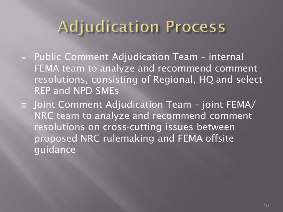 Public Comment Adjudication Team – internal FEMA team to analyze and recommend comment resolutions, consisting of Regional, HQ and select REP and NPD SMEs  Joint Comment Adjudication Team – joint FEMA/ NRC team to analyze and recommend comment resolutions on cross-cutting issues between proposed NRC rulemaking and FEMA offsite guidance 16