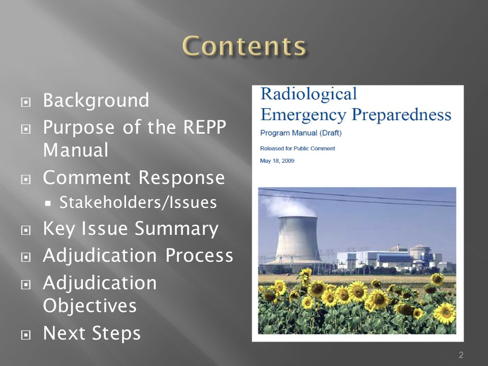  Background  Purpose of the REPP Manual  Comment Response  Stakeholders/Issues  Key Issue Summary  Adjudication Process  Adjudication Objectives  Next Steps 2