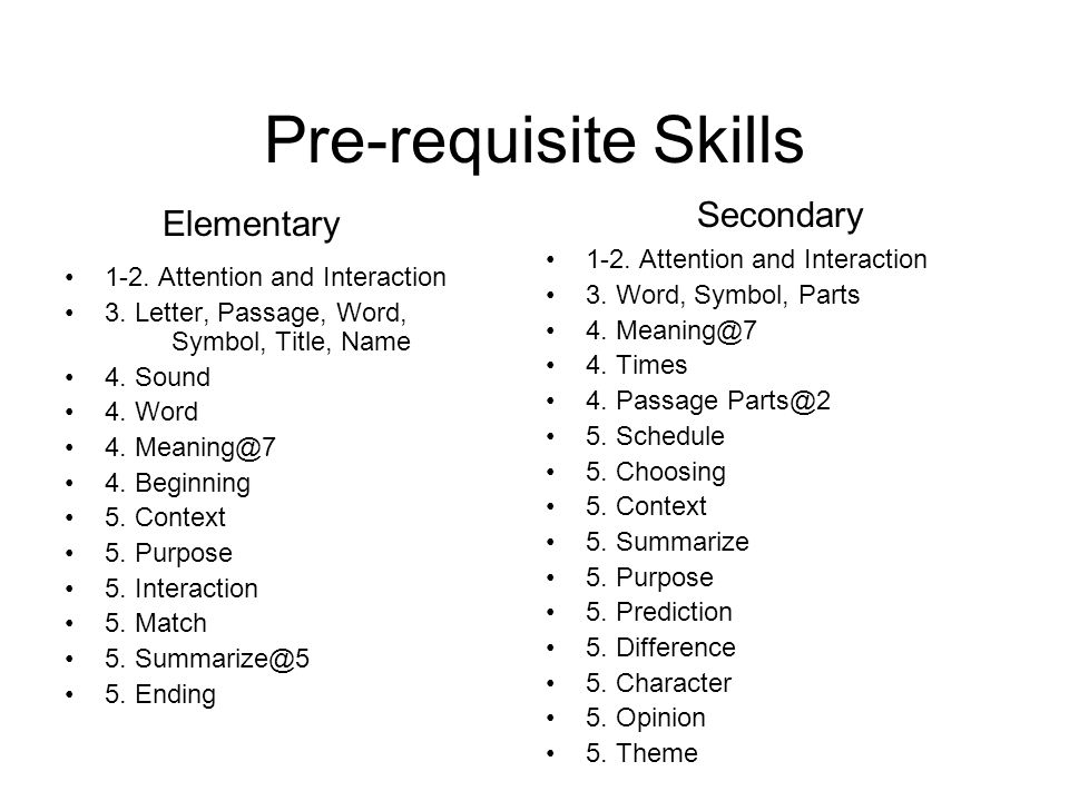 Pre-requisite Skills 1-2. Attention and Interaction 3.