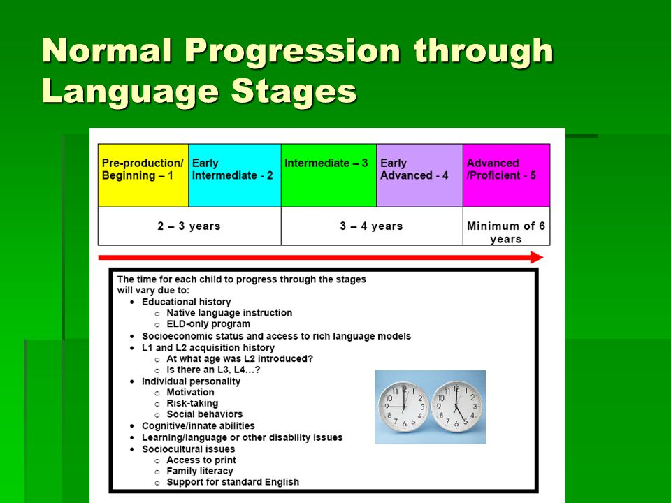 Normal Progression through Language Stages