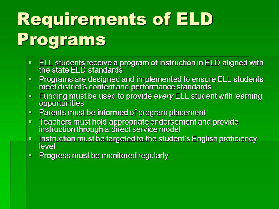Legislative and Judicial Mandates for ELL Students and Special Education  Individuals with Disabilities Educational Improvement Act (IDEIA) of 2004  No Child Left Behind Act (NCLB 2002)  Title VI of the Civil Rights Act of 1964 and its regulations at 34 CFR Part 100  Section 504  Title II of the Americans with Disabilities Act of 1990, 42 USC 12131-12161  Judicial Mandates  May 25, 1970 Memorandum  Lau v.