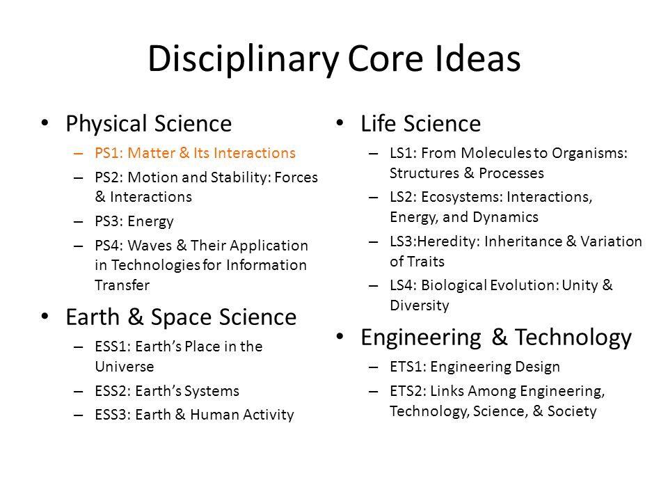 Disciplinary Core Ideas Physical Science – PS1: Matter & Its Interactions – PS2: Motion and Stability: Forces & Interactions – PS3: Energy – PS4: Wave