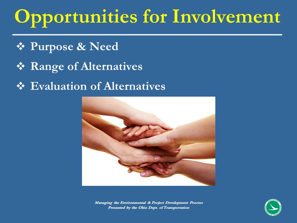  Purpose & Need  Range of Alternatives  Evaluation of Alternatives Opportunities for Involvement Managing the Environmental & Project Development Process Presented by the Ohio Dept.