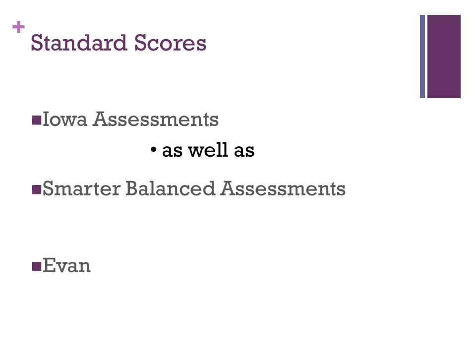 + Standard Scores Iowa Assessments as well as Smarter Balanced Assessments Evan