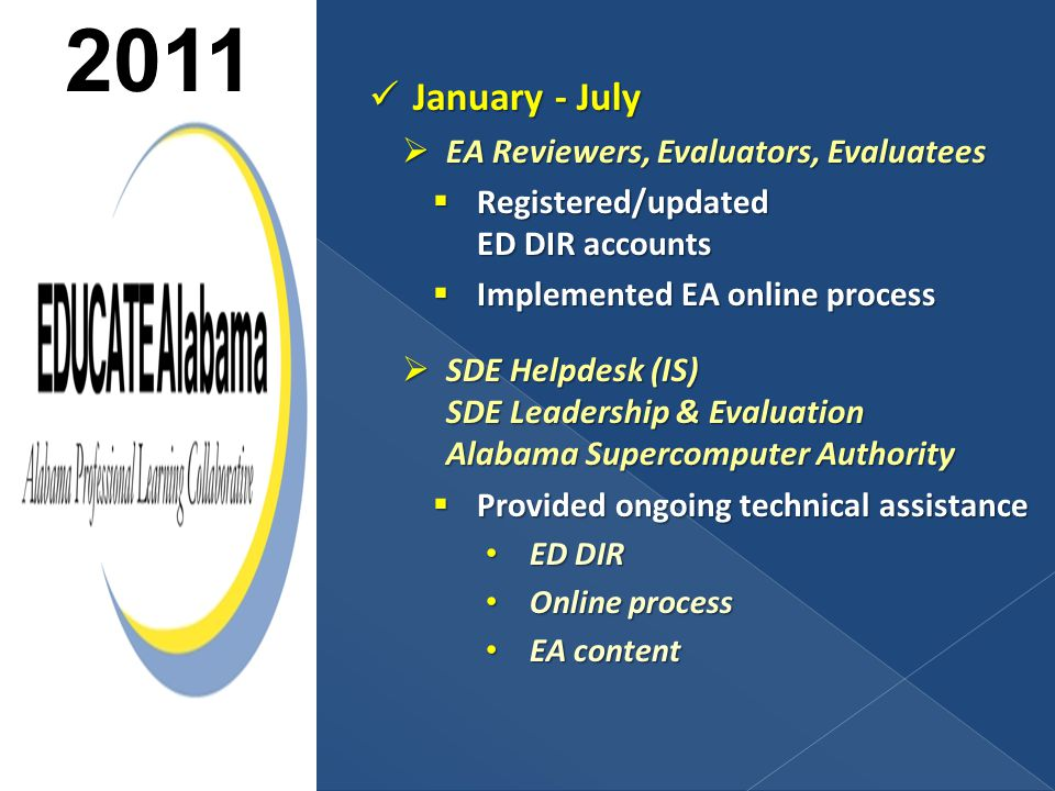 January - July January - July  EA Reviewers, Evaluators, Evaluatees  Registered/updated ED DIR accounts  Implemented EA online process  SDE Helpdesk (IS) SDE Leadership & Evaluation Alabama Supercomputer Authority  Provided ongoing technical assistance ED DIR ED DIR Online process Online process EA content EA content 2011