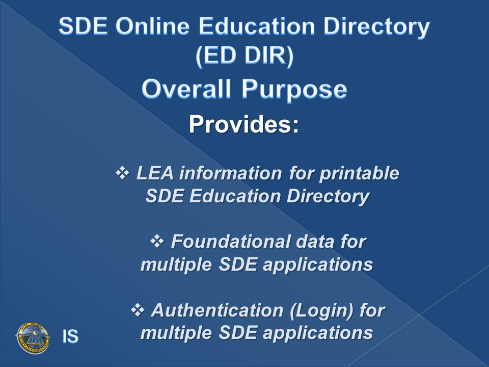 Provides:  LEA information for printable SDE Education Directory  Foundational data for multiple SDE applications  Authentication (Login) for multiple SDE applications