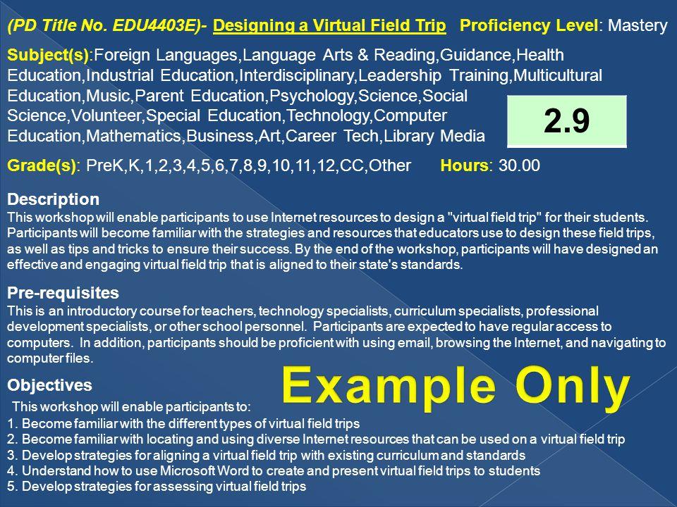 (PD Title No. EDU4403E)- Designing a Virtual Field Trip Proficiency Level: Mastery Subject(s):Foreign Languages,Language Arts & Reading,Guidance,Healt