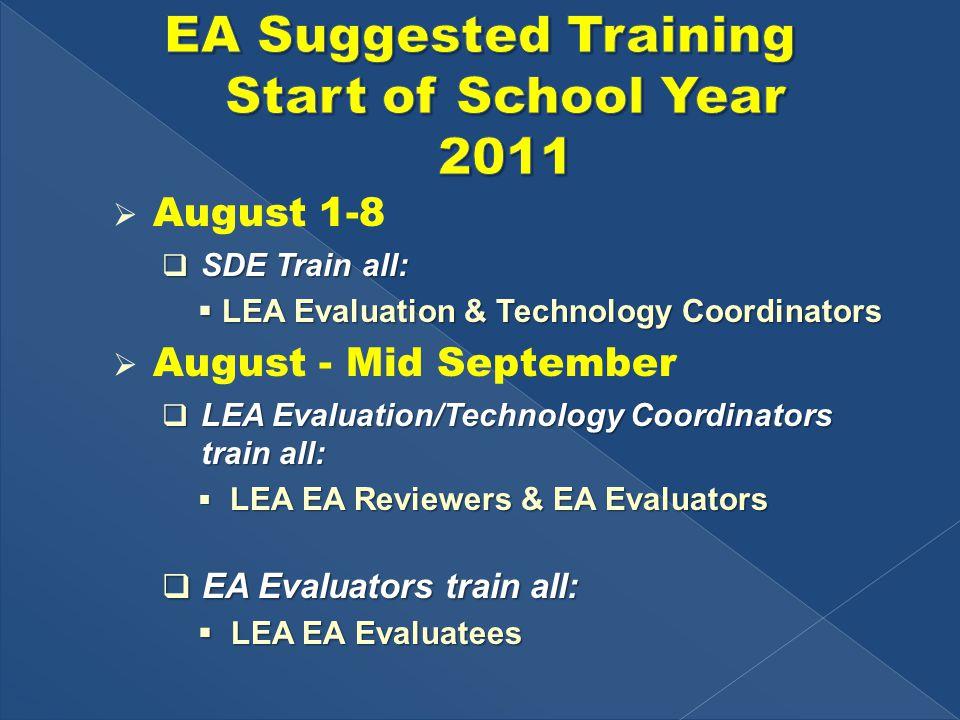  August 1-8  SDE Train all:  LEA Evaluation & Technology Coordinators  August - Mid September  LEA Evaluation/Technology Coordinators train all:  LEA EA Reviewers & EA Evaluators  EA Evaluators train all:  LEA EA Evaluatees