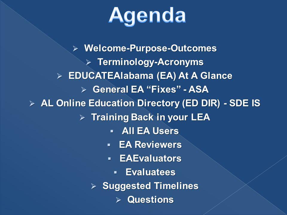 " Welcome-Purpose-Outcomes  Terminology-Acronyms  EDUCATEAlabama (EA) At A Glance  General EA ""Fixes"" - ASA  AL Online Education Directory (ED DIR"