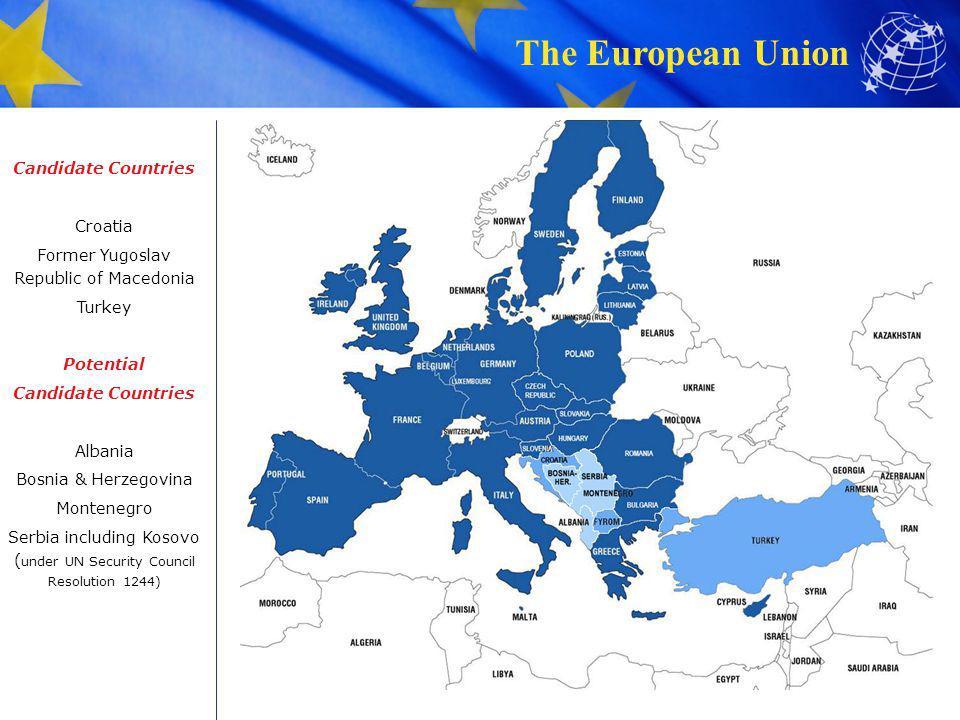 The European Union Candidate Countries Croatia Former Yugoslav Republic of Macedonia Turkey Potential Candidate Countries Albania Bosnia & Herzegovina