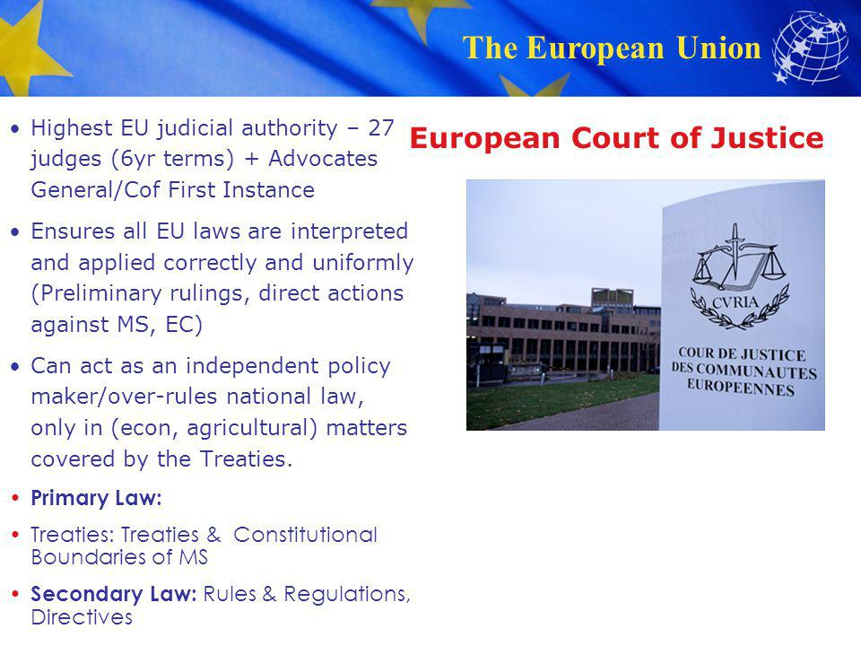 The European Union European Court of Justice Highest EU judicial authority – 27 judges (6yr terms) + Advocates General/Cof First Instance Ensures all