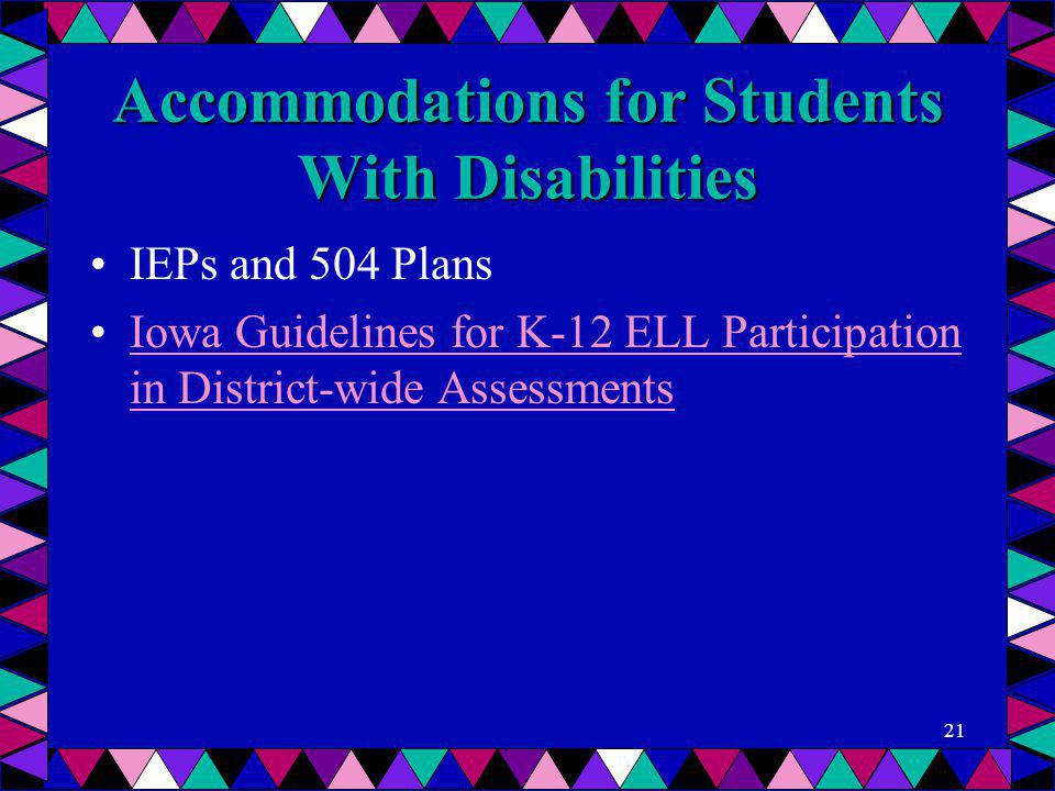 Accommodations for Students With Disabilities IEPs and 504 Plans Iowa Guidelines for K-12 ELL Participation in District-wide AssessmentsIowa Guideline