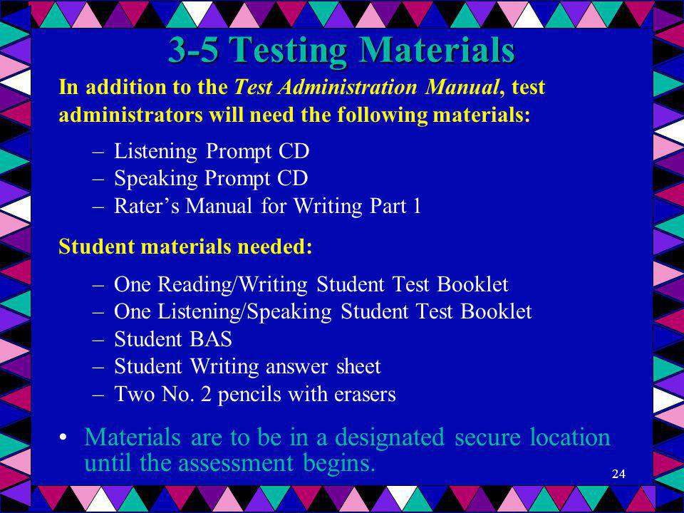 3-5 Testing Materials In addition to the Test Administration Manual, test administrators will need the following materials: –Listening Prompt CD –Spea