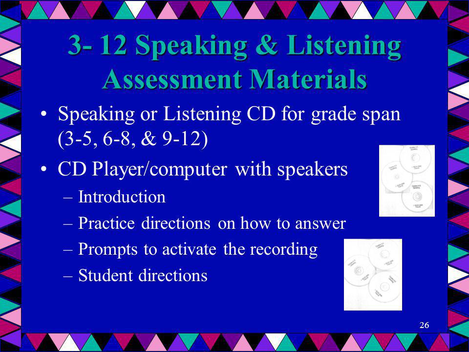 3- 12 Speaking & Listening Assessment Materials Speaking or Listening CD for grade span (3-5, 6-8, & 9-12) CD Player/computer with speakers –Introduct