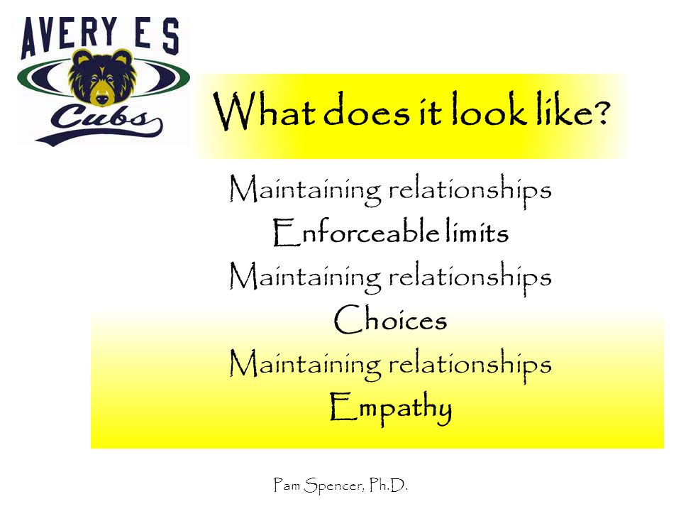 Pam Spencer, Ph.D. What does it look like? Maintaining relationships Enforceable limits Maintaining relationships Choices Maintaining relationships Em