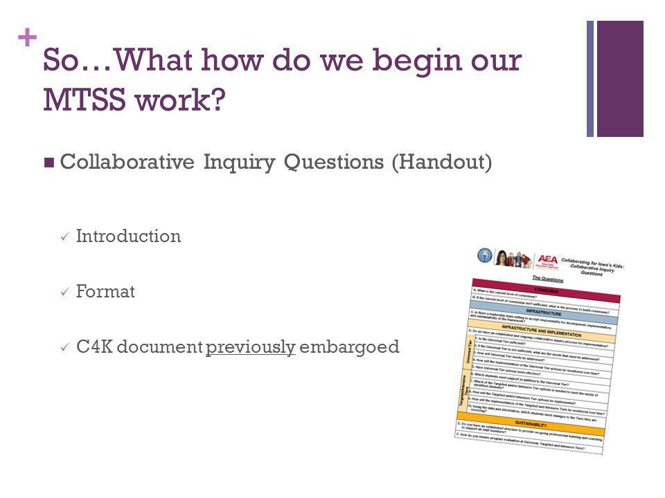 + So…What how do we begin our MTSS work? Collaborative Inquiry Questions (Handout) Introduction Format C4K document previously embargoed