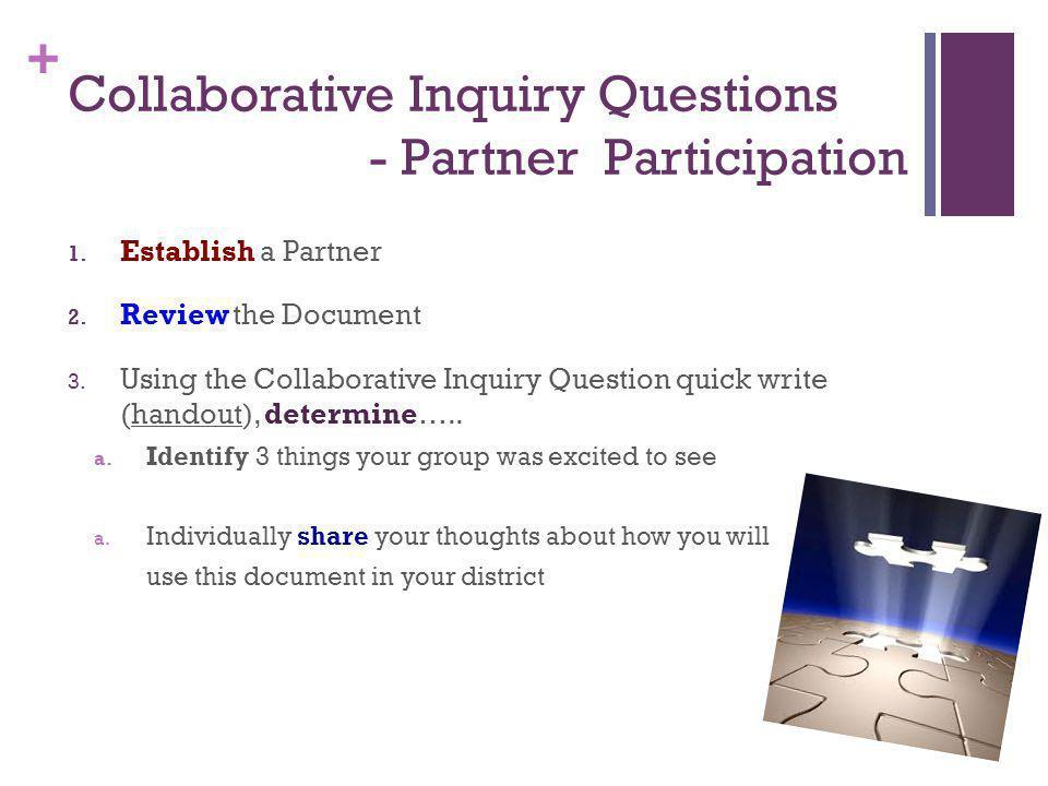 + Collaborative Inquiry Questions - Partner Participation 1.