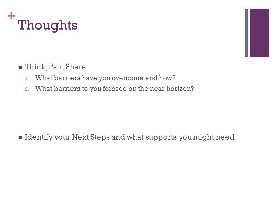 + Thoughts Think, Pair, Share 1. What barriers have you overcome and how.