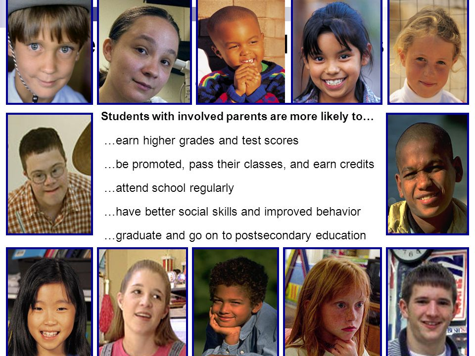 Students with involved parents are more likely to… …earn higher grades and test scores …be promoted, pass their classes, and earn credits …attend scho