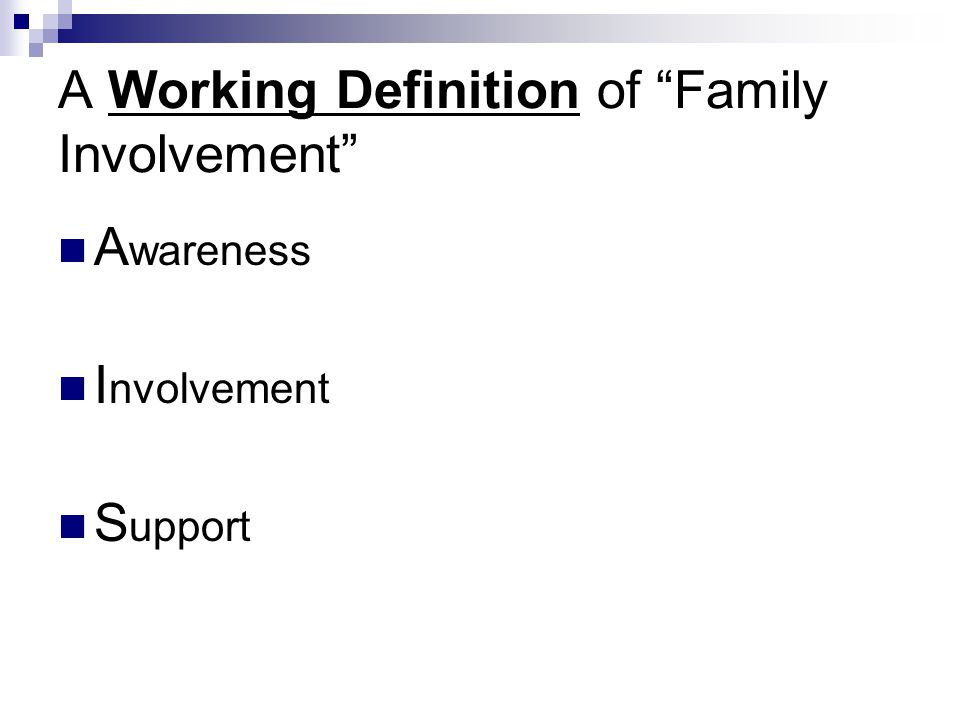"A Working Definition of ""Family Involvement"" A wareness I nvolvement S upport"