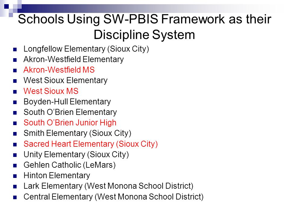 Schools Using SW-PBIS Framework as their Discipline System Longfellow Elementary (Sioux City) Akron-Westfield Elementary Akron-Westfield MS West Sioux Elementary West Sioux MS Boyden-Hull Elementary South O'Brien Elementary South O'Brien Junior High Smith Elementary (Sioux City) Sacred Heart Elementary (Sioux City) Unity Elementary (Sioux City) Gehlen Catholic (LeMars) Hinton Elementary Lark Elementary (West Monona School District) Central Elementary (West Monona School District)