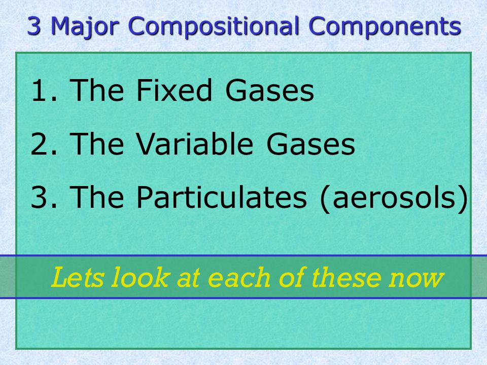 Today's Objectives 1. Distinguish gases between fixed, variable, and particulate 2.