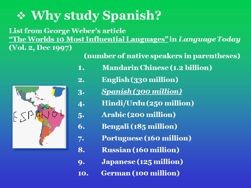  Why study Spanish. 1. Mandarin Chinese (1.2 billion) 2.
