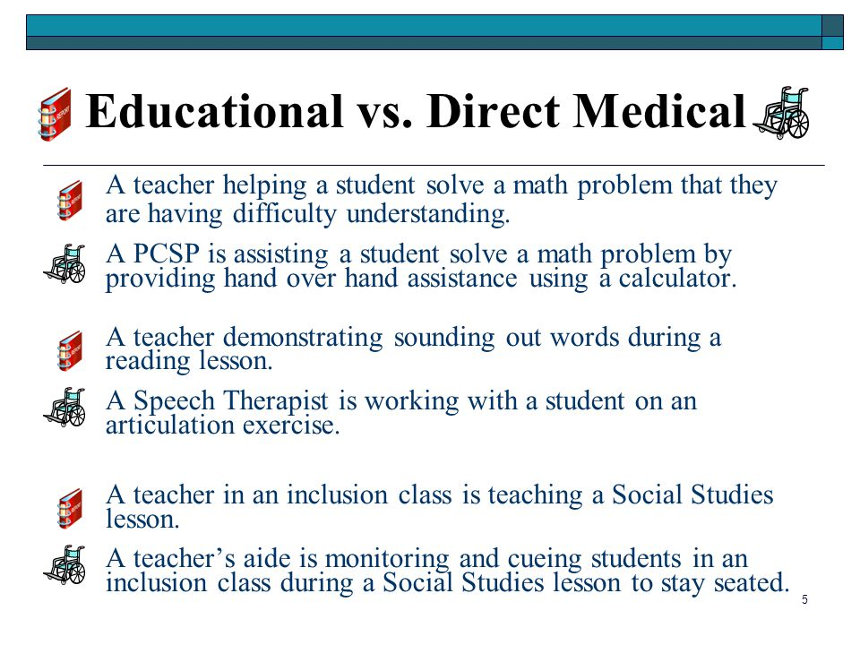 5 Educational vs. Direct Medical A teacher helping a student solve a math problem that they are having difficulty understanding. A PCSP is assisting a