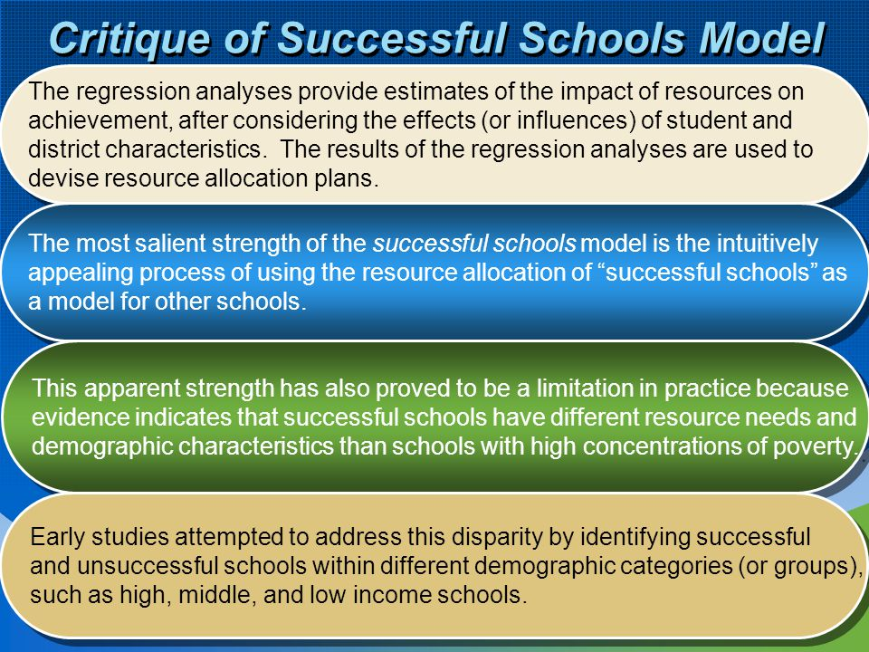 11 Critique of Successful Schools Model The regression analyses provide estimates of the impact of resources on achievement, after considering the eff