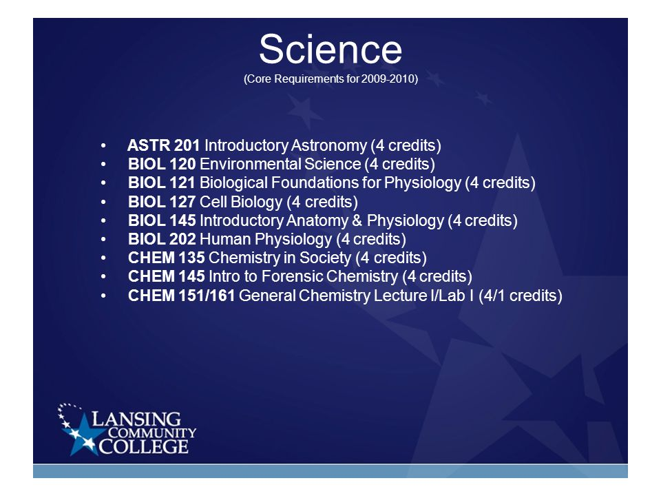 Science (Core Requirements for 2009-2010) ASTR 201 Introductory Astronomy (4 credits) BIOL 120 Environmental Science (4 credits) BIOL 121 Biological Foundations for Physiology (4 credits) BIOL 127 Cell Biology (4 credits) BIOL 145 Introductory Anatomy & Physiology (4 credits) BIOL 202 Human Physiology (4 credits) CHEM 135 Chemistry in Society (4 credits) CHEM 145 Intro to Forensic Chemistry (4 credits) CHEM 151/161 General Chemistry Lecture I/Lab I (4/1 credits)