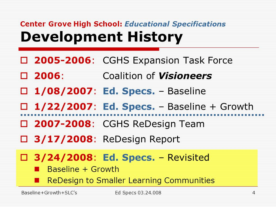 Baseline+Growth+SLC sEd Specs 03.24.0084 Center Grove High School: Educational Specifications Development History  2005-2006:CGHS Expansion Task Force  2006:Coalition of Visioneers  1/08/2007:Ed.