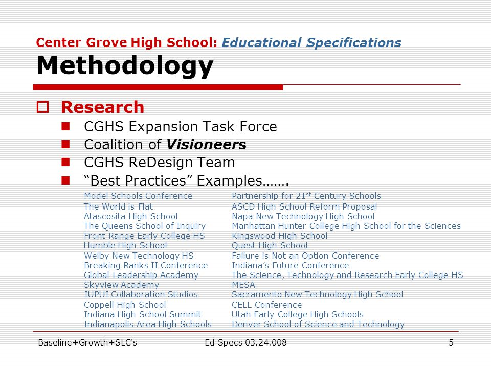 Baseline+Growth+SLC sEd Specs 03.24.0085 Center Grove High School: Educational Specifications Methodology  Research CGHS Expansion Task Force Coalition of Visioneers CGHS ReDesign Team Best Practices Examples…….
