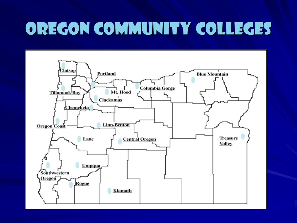 2 Year Colleges 17 Oregon Two Year Colleges Blue Mountain, Central Oregon, Chemeketa, Clackamas, Clatsop, Columbia Gorge, Klamath, Lane, Linn-Benton,