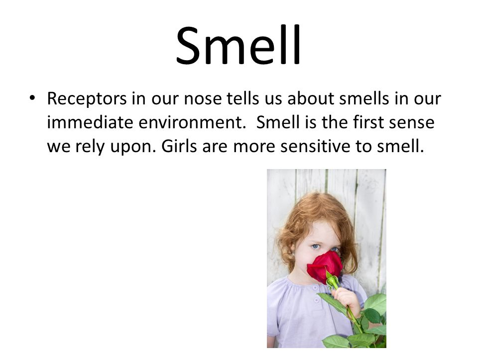 Smell Receptors in our nose tells us about smells in our immediate environment. Smell is the first sense we rely upon. Girls are more sensitive to sme