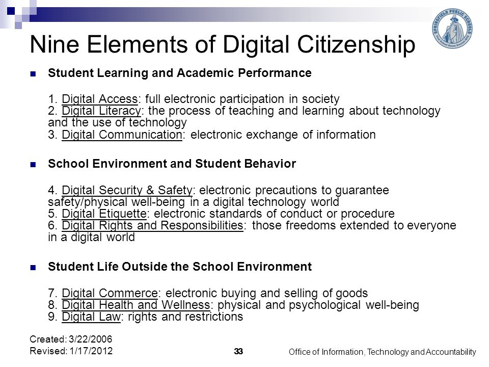 Office of Information, Technology and Accountability 33 Nine Elements of Digital Citizenship Student Learning and Academic Performance 1.